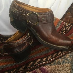 Frye Belted Harness Brown Square Toe Slip Ons